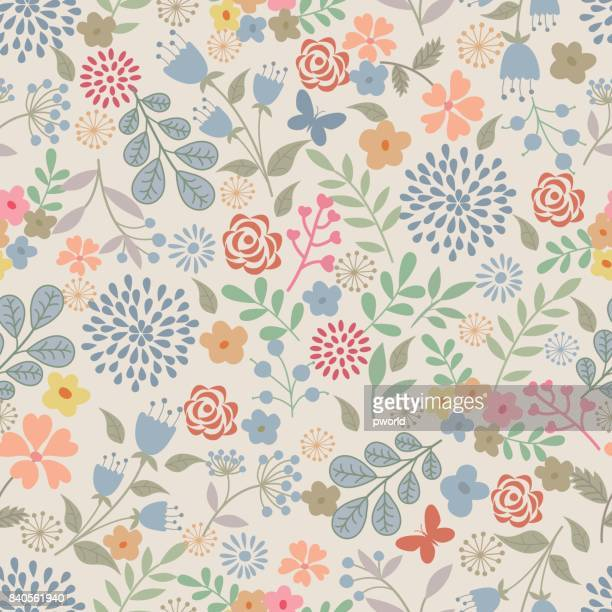 floral seamless pattern . - floral pattern stock illustrations