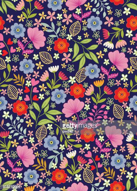 illustrazioni stock, clip art, cartoni animati e icone di tendenza di floral seamless pattern . - motivo floreale