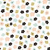 Floral seamless pattern with cute flowers. Flowers surface design vector background