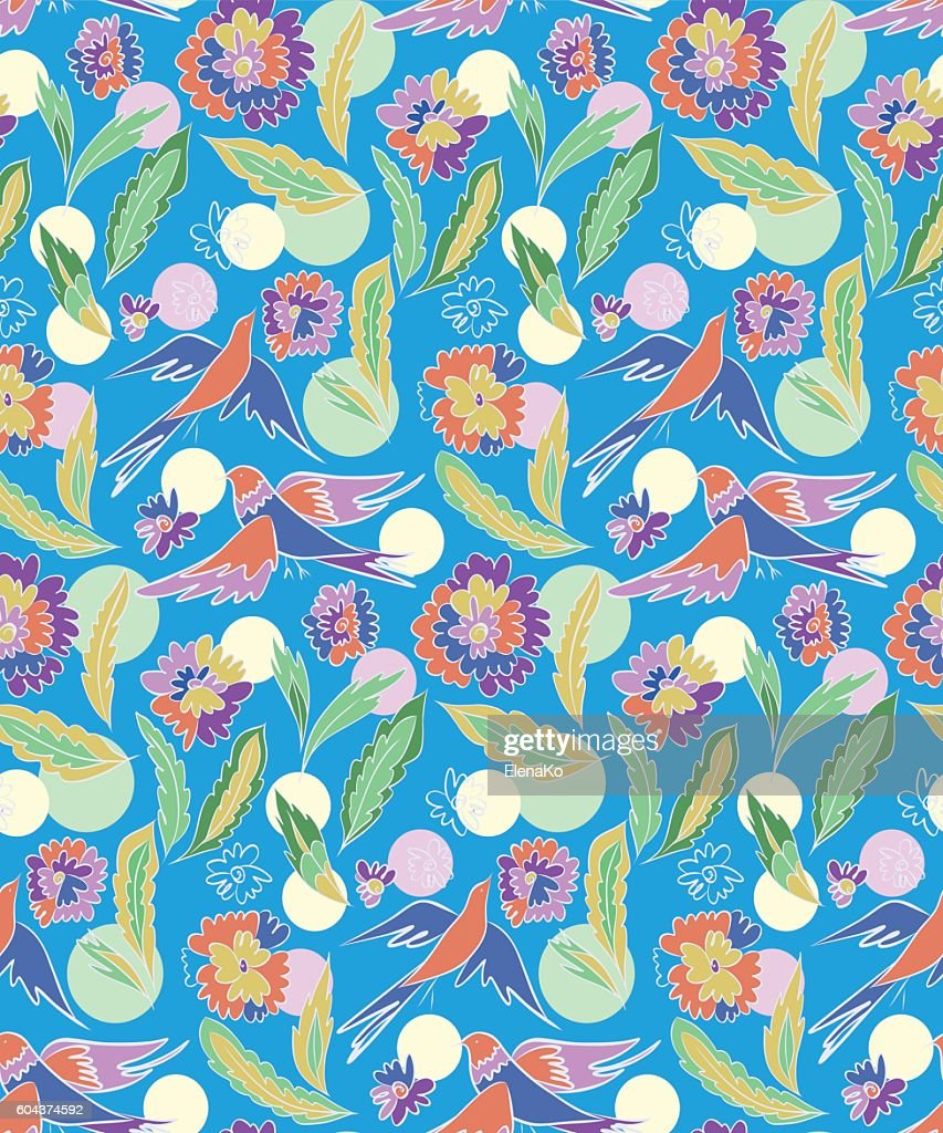 Floral seamless pattern with fantasy birds