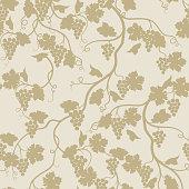 Floral seamless pattern with grape branch. Wineyard retro wallpa