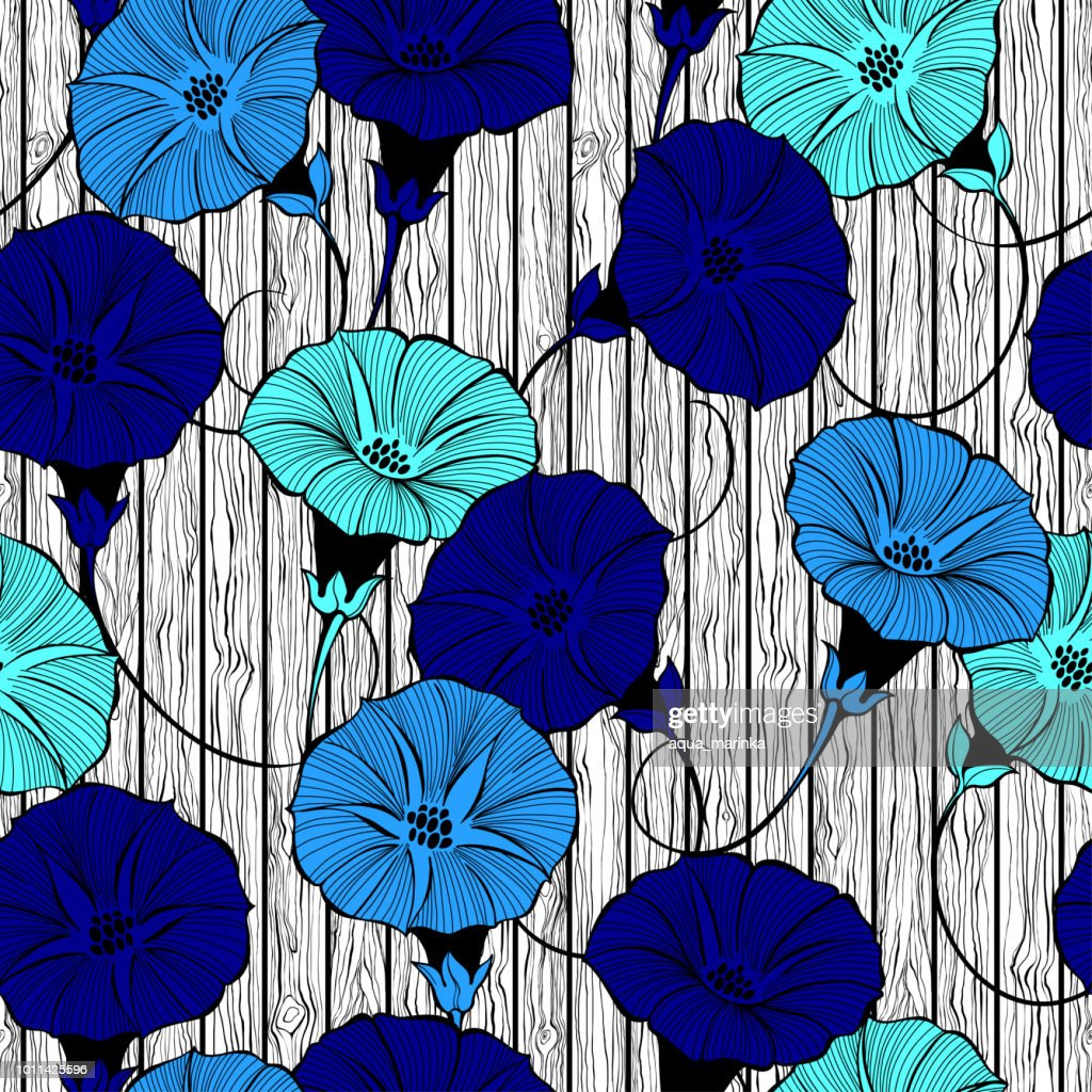 Floral seamless pattern with hand drawn bindweed flowers on the texture of wood. Vector color illustration.