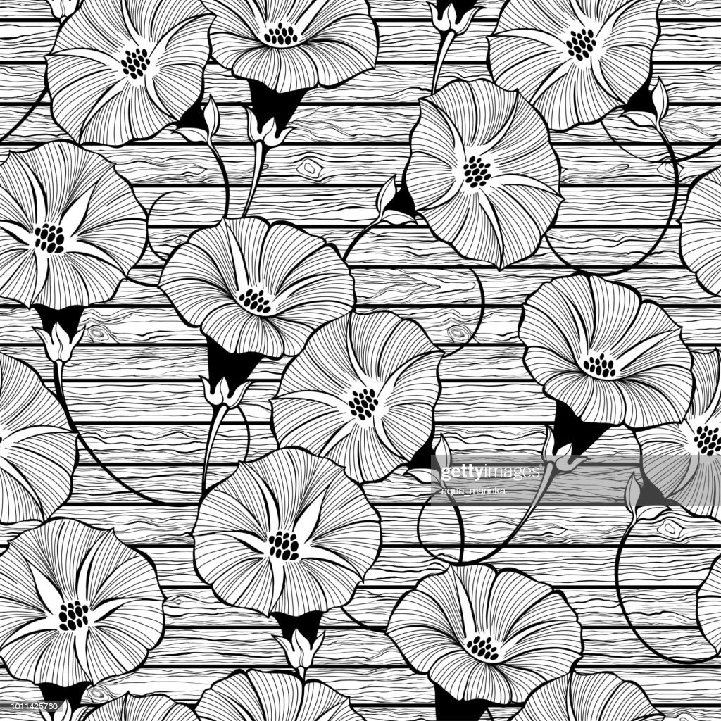 Floral seamless pattern with hand drawn bindweed flowers on the texture of wood. Vector black and white  illustration.
