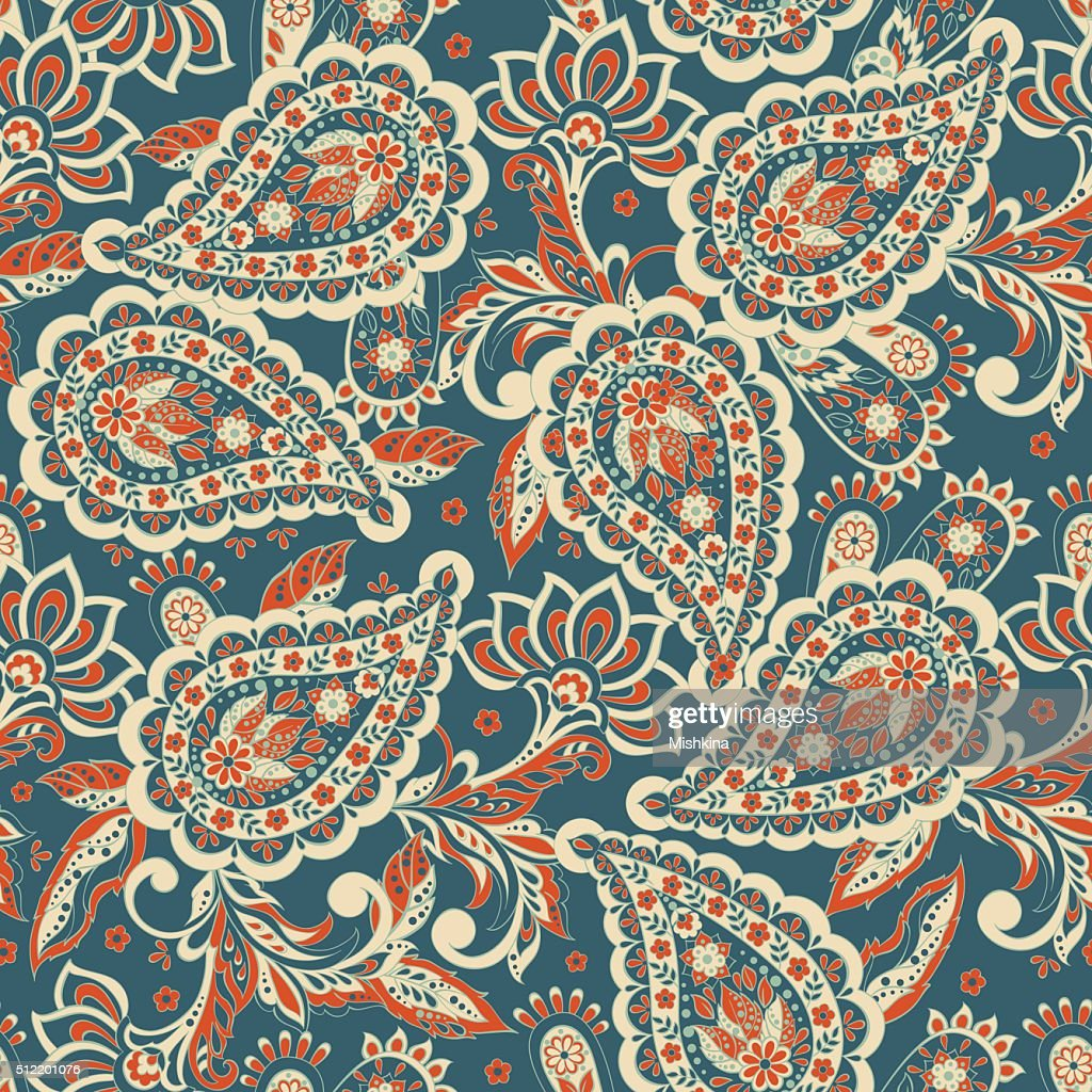 Floral seamless pattern with paisley ornamen