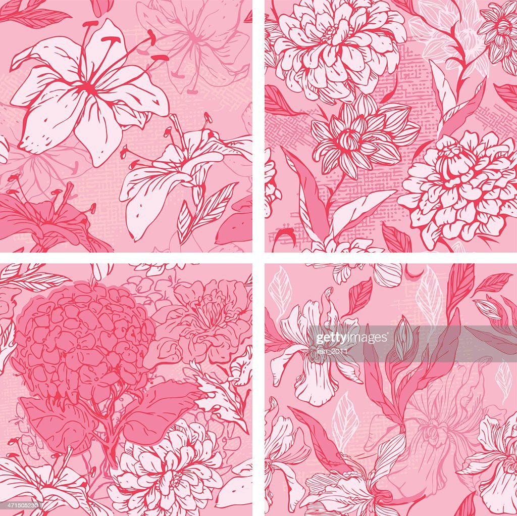 Floral Seamless Patterns in pink colors with flowers