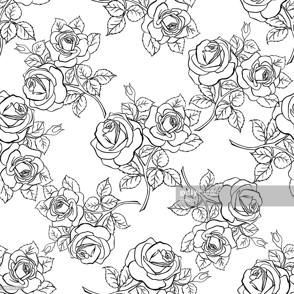 Floral seamless texture with roses.