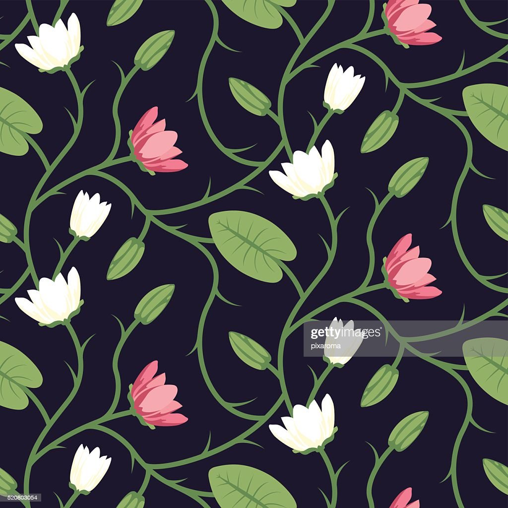 Floral Seamless Vector Pattern Design Pink White