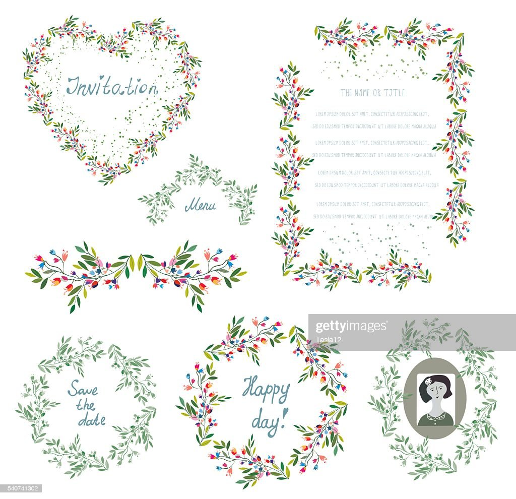 Floral set of design elements and frames for the wedding