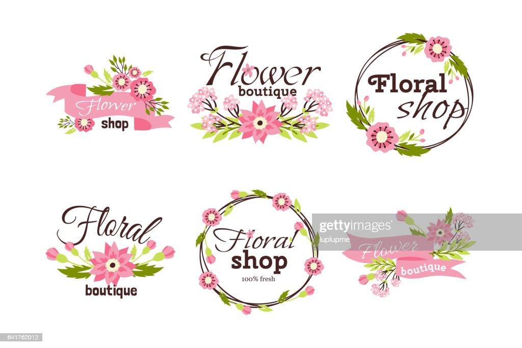 Floral shop badge decorative frame template vector illustration