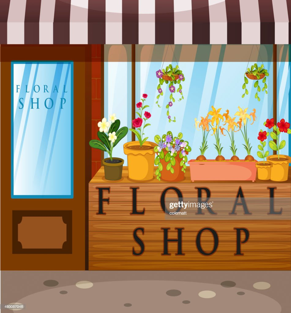 Floral shop  beautiful flowers  front
