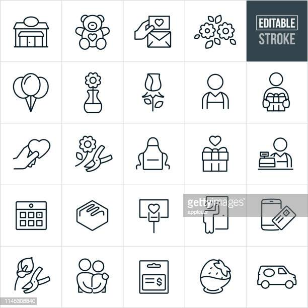 Floral Shop Thin Line Icons - Ediatable Stroke