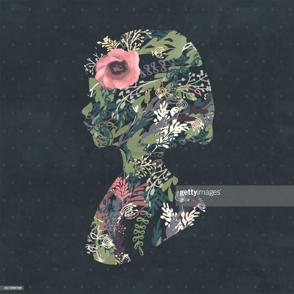 Floral Silhouette Portrait Of A Beautiful Girl In Profile High Res Vector Graphic Getty Images,House Renovation Before And After Pictures