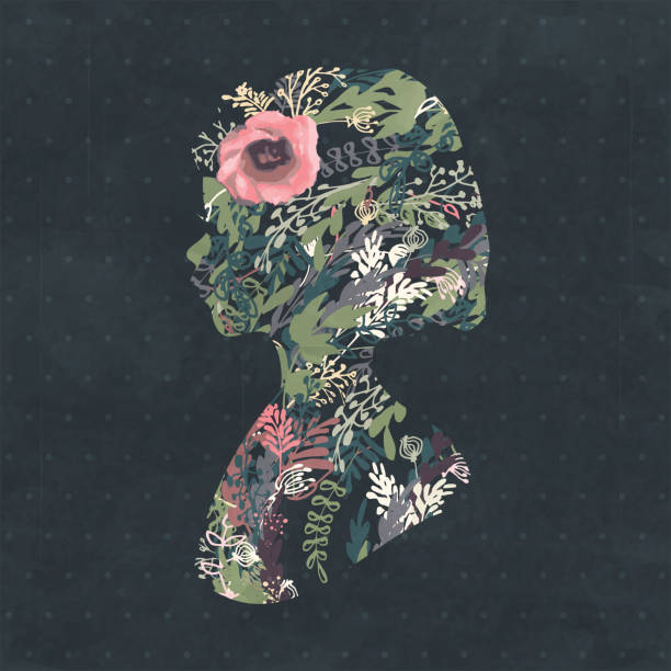 floral silhouette portrait of a beautiful girl in profile - femininity stock illustrations