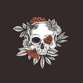 Floral skull. Vintage floral skeleton. Vector illustration