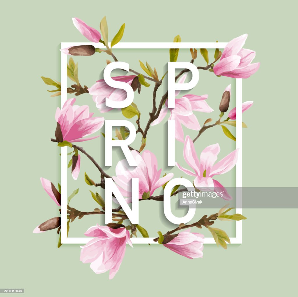 Floral Spring Graphic Design with Magnolia Flowers for t-shirt