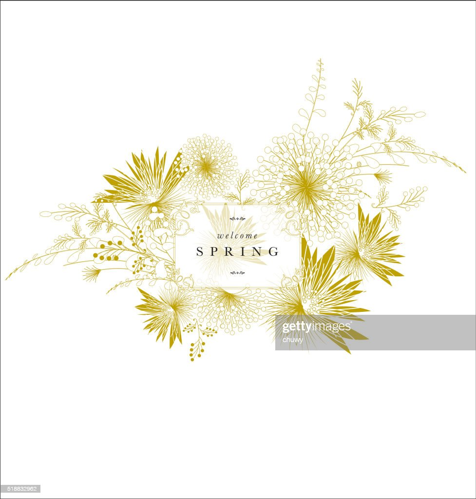 Floral spring ornament banner golden elegant text