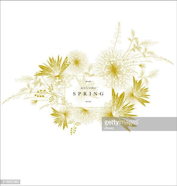 Frühling Floral Verzierung Banner Golden elegante Text