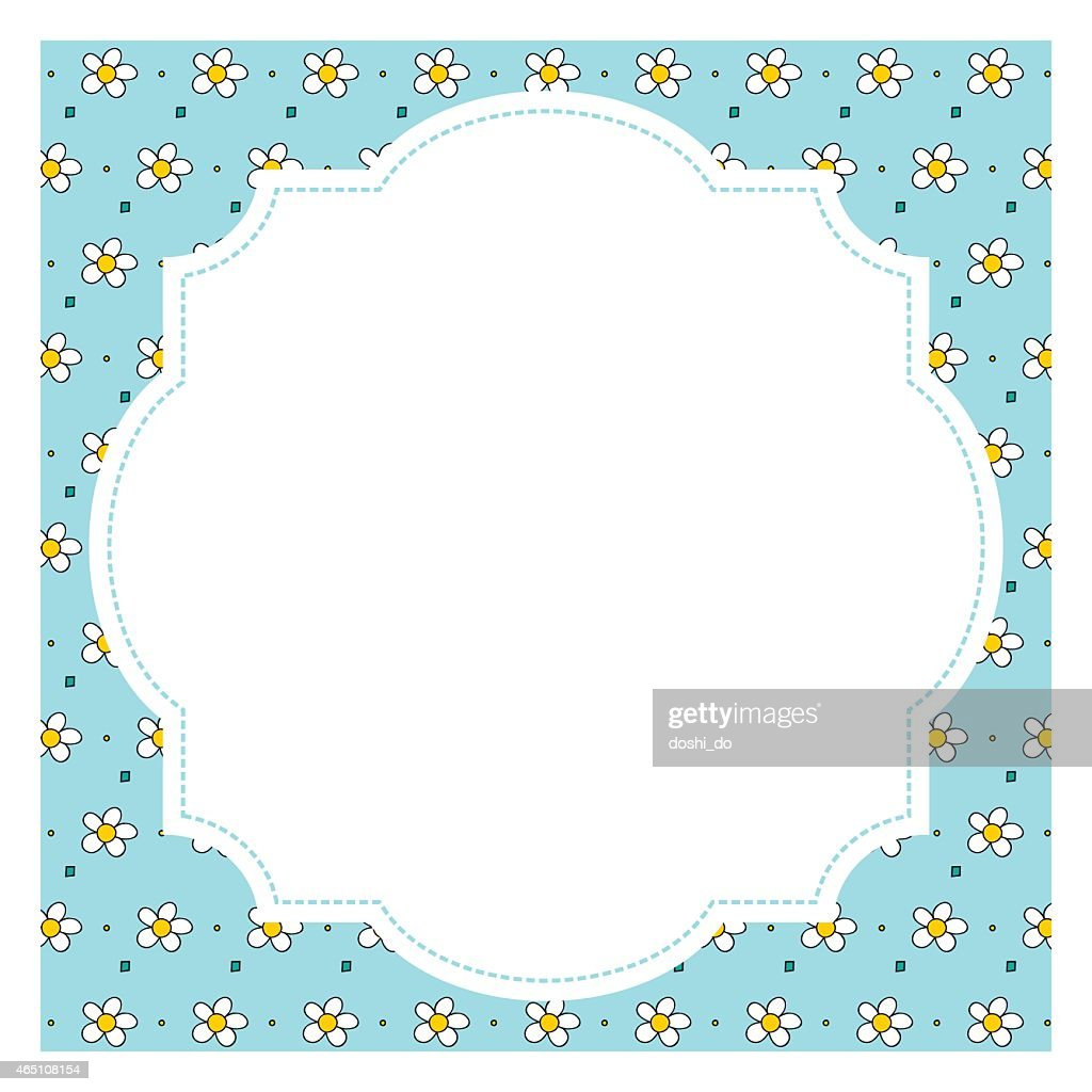 Floral square frame with retro elements - illustration
