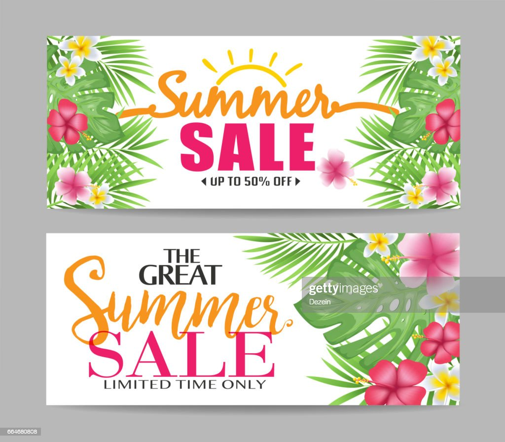 Floral Summer Sale Banners with Tropical Leaves and Colorful Flowers