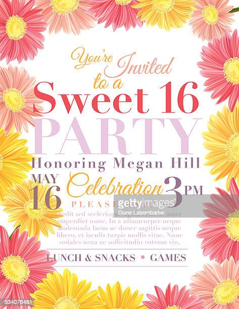 floral sweet 16 birthday party invitation template - gerbera daisy stock illustrations, clip art, cartoons, & icons