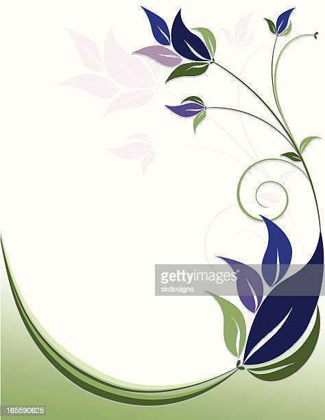 floral swirls background design - rich blue, purple, green - plant attribute stock illustrations, clip art, cartoons, & icons