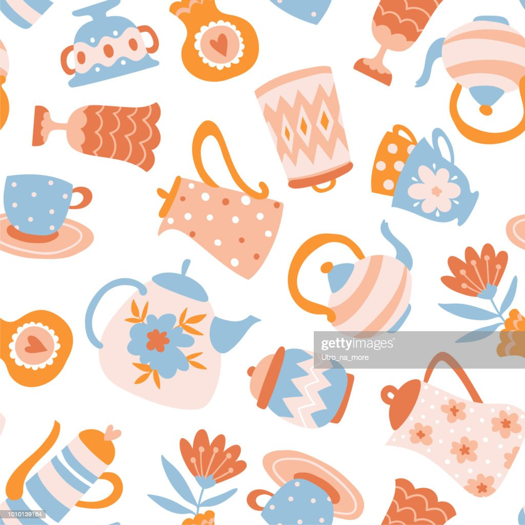 Floral Tea seamless pattern. Cute fabric design. Teapots, cups and flowers isolated on the white background.