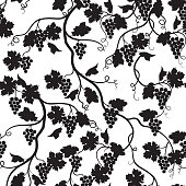 Floral tiled pattern with grape branch silhouette. Wineyard wall