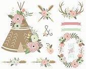 Floral Tribal Elements- illustration