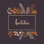 floral twigs branches leaves invitation