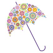 floral umbrella on white background