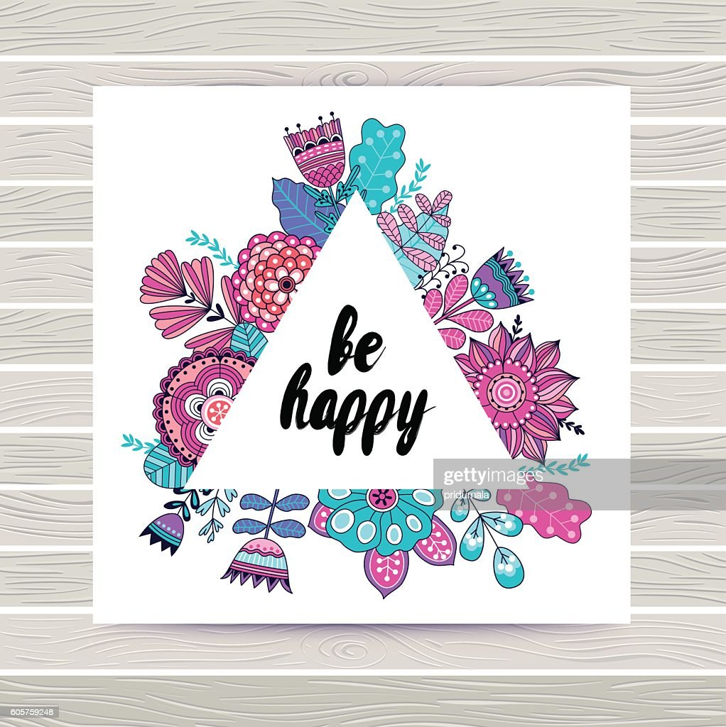 Floral vector card in triangles frame.