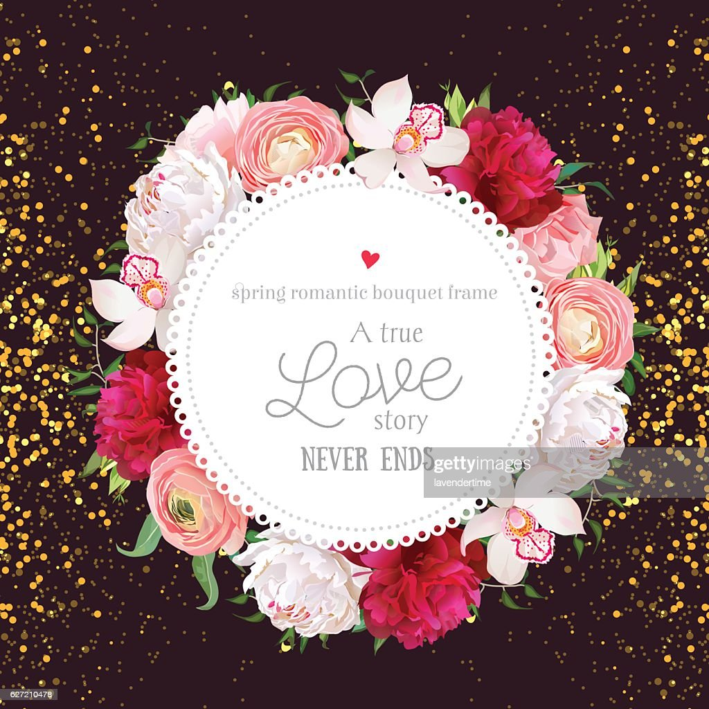 Floral vector design round card with golden glitter dark background