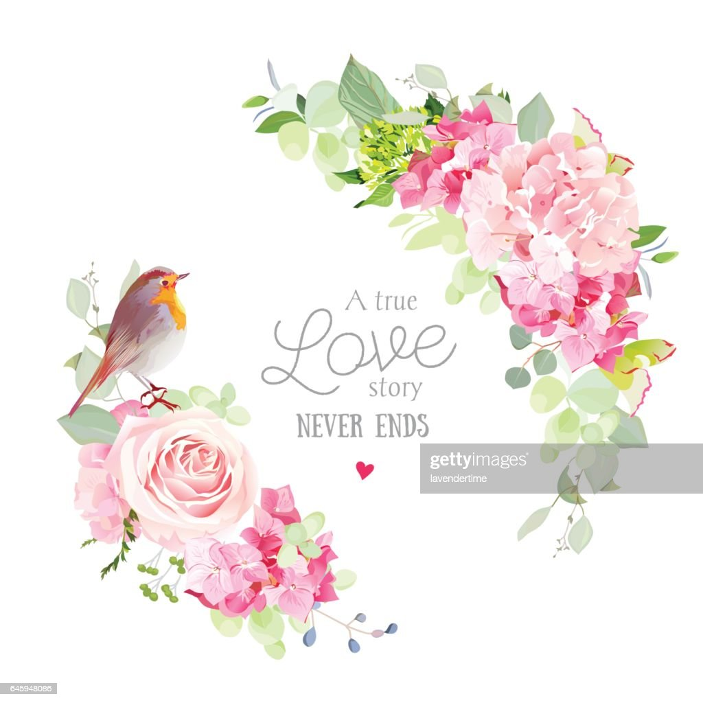Floral vector round frame with cute small robin bird