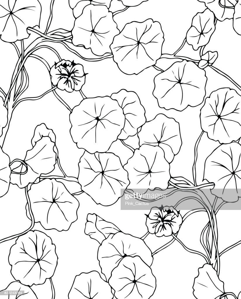 Floral Vine Plant Seamless Pattern