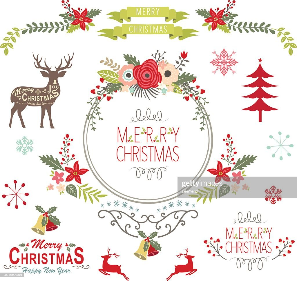 Floral Vintage Christmas Elements- Illustration