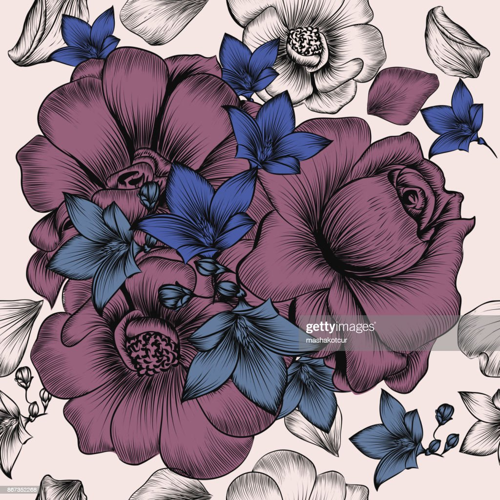 Floral Wallpaper Pattern With Engraved Hand Drawn Flowers In
