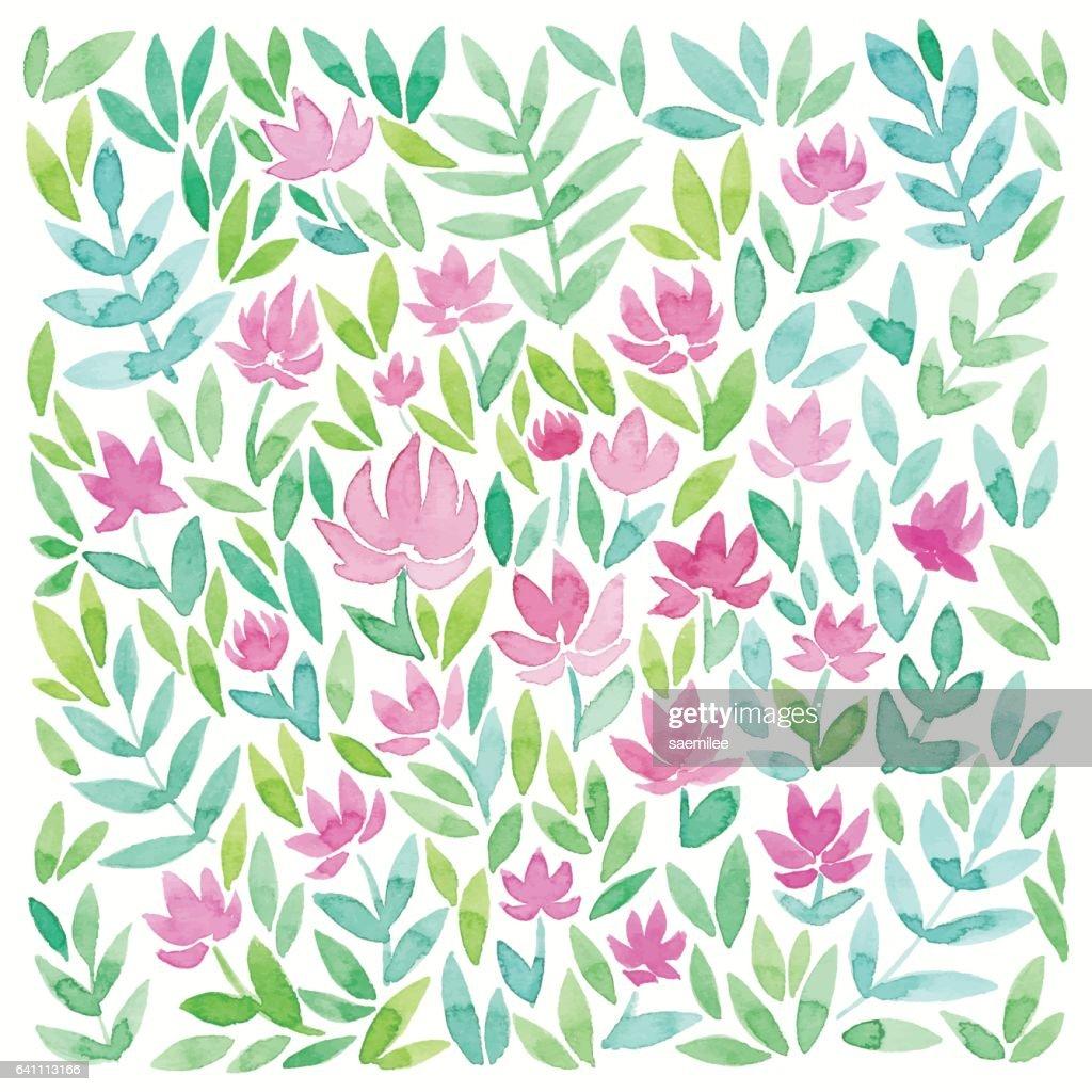 Floral Watercolor Pattern : Vector Art