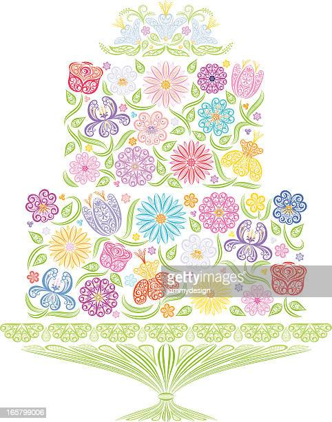 floral wedding cake - wedding cake stock illustrations