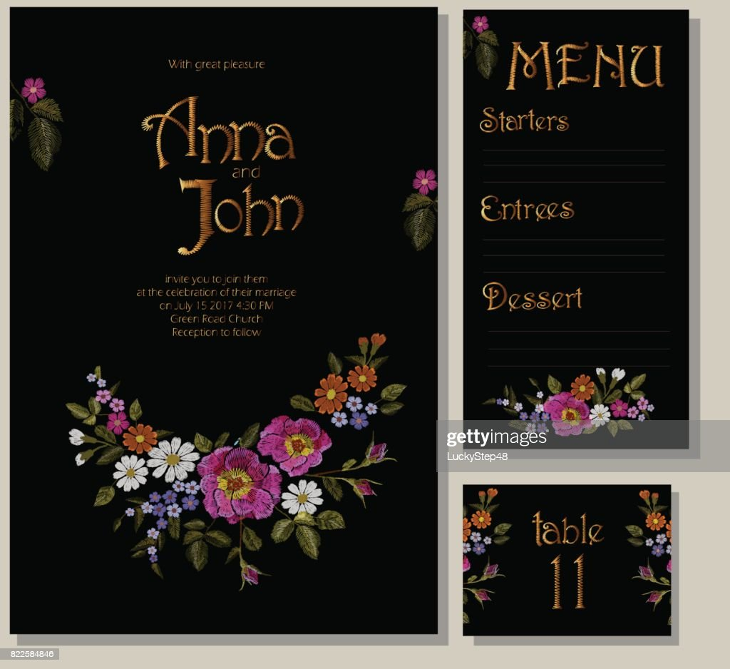 Floral wedding cards design suite template. Rustic field flower wild rose daisy gerbera herbs. Invitation greeting card marriage menu table. Embroidery on black vector illustration