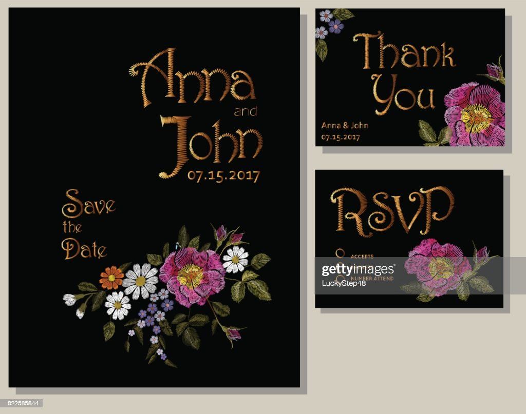 Floral wedding cards design suite template. Rustic field flower wild rose daisy gerbera herbs. Save the date greeting card RSVP thank you. Embroidery on black vector illustration