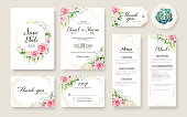 Floral Wedding Invitation card, save the date, thank you, rsvp, table label, tage template. Rose flower, Succulent, greenery plants.