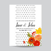 Floral Wedding Invitation Card Template with Autumn Flowers, Leaves and Rowanberry. Baby Shower Decoration in vector