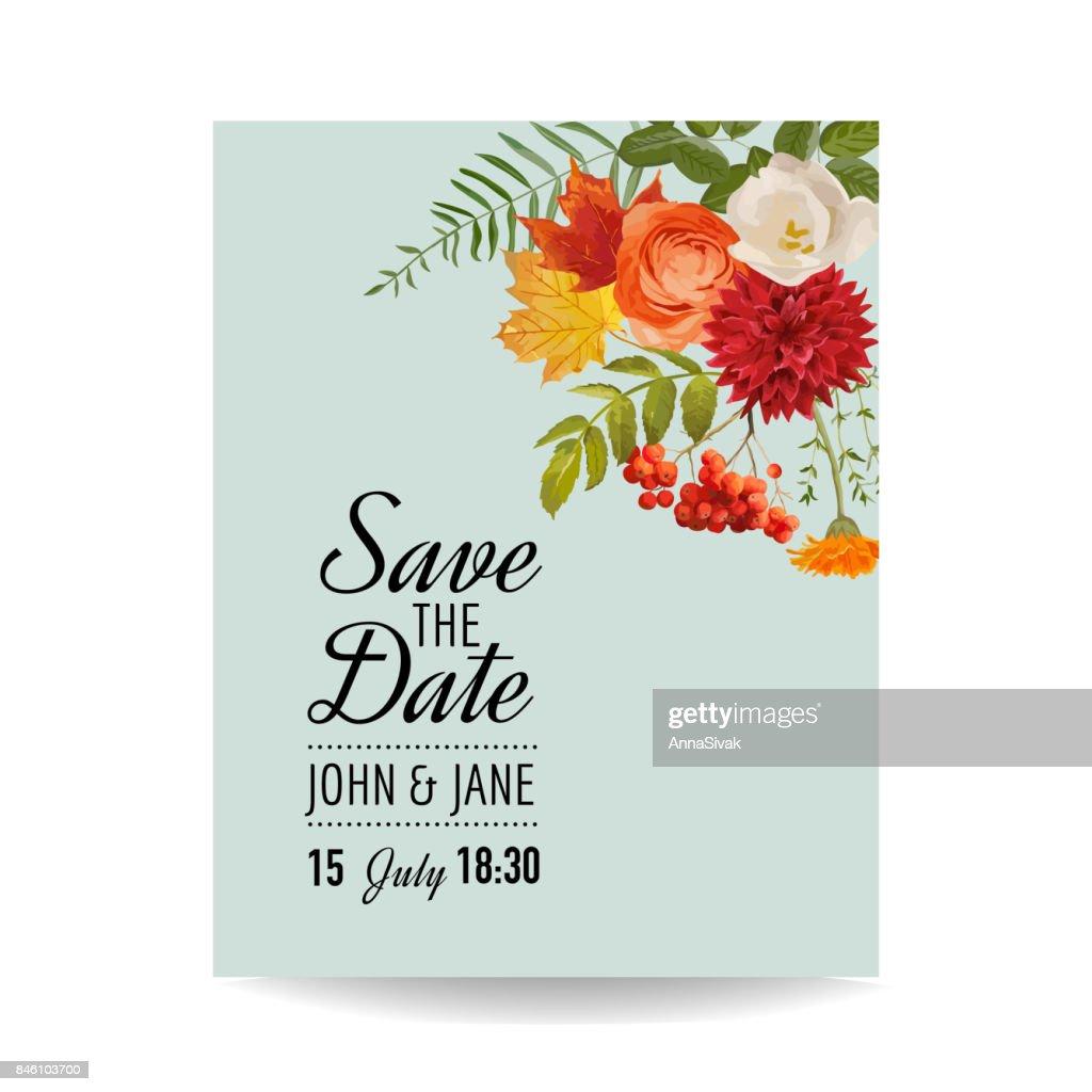 Blumen Hochzeit Einladung Kartenvorlage Mit Herbstblumen Blattern
