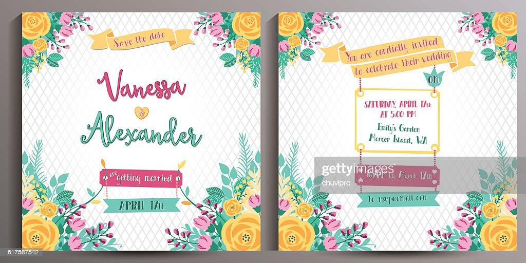 Floral Wedding Invitation. Double sided square card 14.5 cm