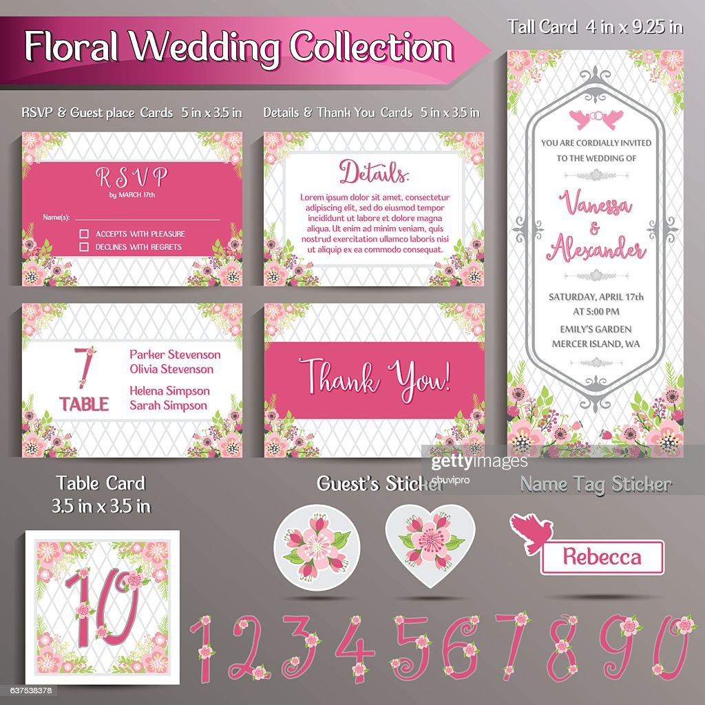 Floral Wedding Invitation set. US format : Vector Art
