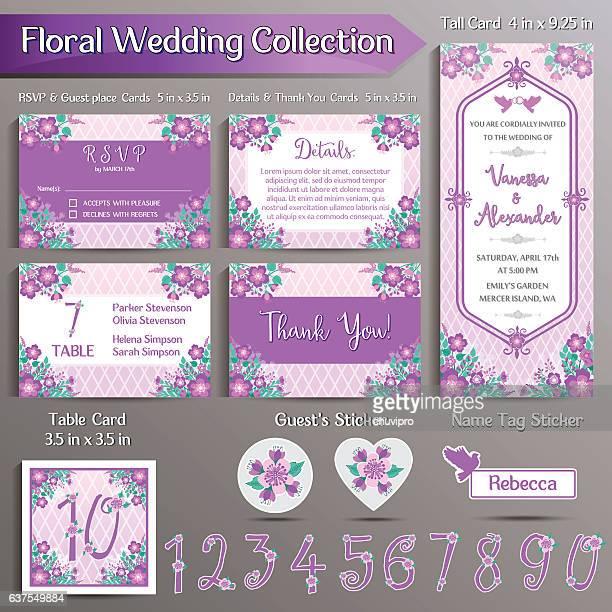 ilustraciones, imágenes clip art, dibujos animados e iconos de stock de floral wedding invitation set. us format - lavanda