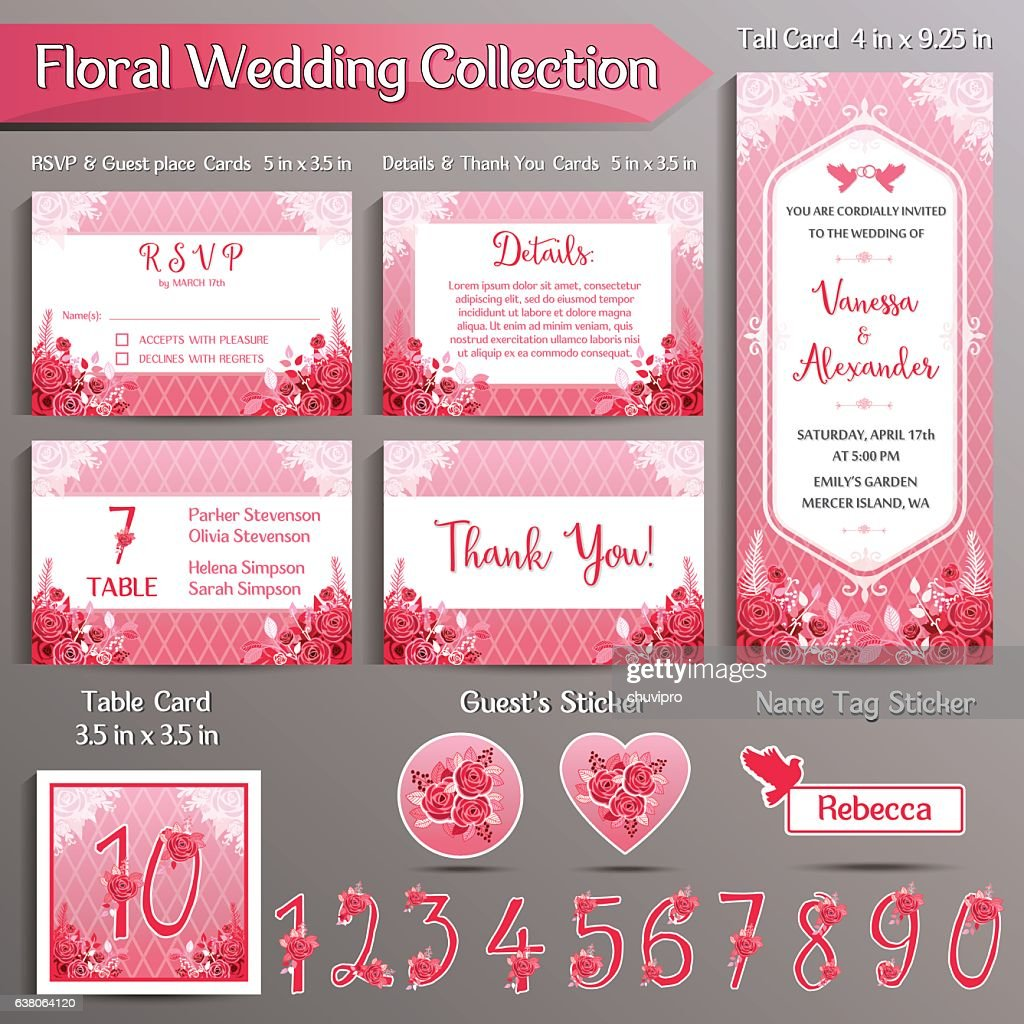 Floral wedding invitation set us format vector art getty images floral wedding invitation set us format vector art stopboris Choice Image