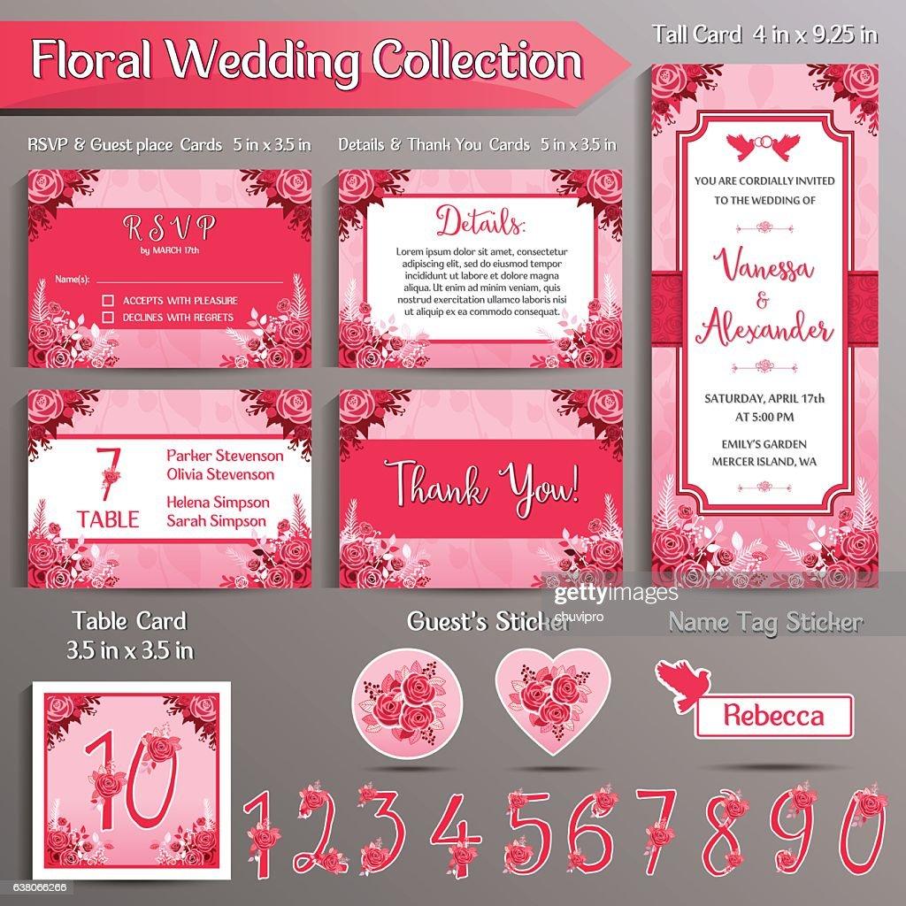 floral wedding invitation set us format ベクトルアート getty images