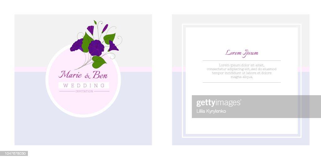 Floral wedding invitation template. Elegant feminine design with flowers binweed and convolvulus.