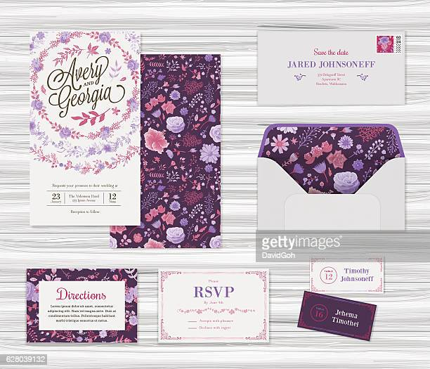 floral wedding invitation template set - maroon stock illustrations